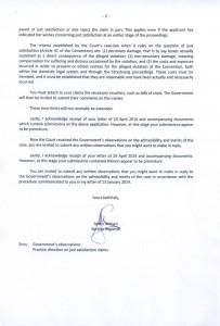 Письмо из Европейского Суда, которым заявителю направляются письменные возражения и ответы на поставленные вопросы (меморандум) властей Российской Федерации и предлагают представить свои письменные возражения (меморандум)
